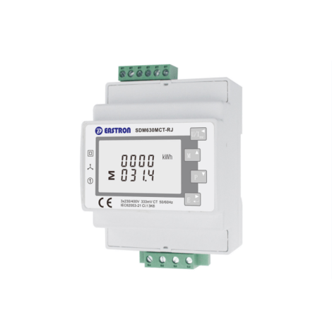 SDM630MCT-RJ12 Single/Three Phase, 1/5A, CT Operated, Multifunction Dinrail Meter