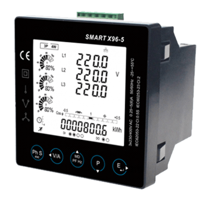 SMARTX96-5 Single/Three Phase, MID, 1/5A, CT Operated, 96mm² Panel Mounted, Multifunction Meter, Class 0.5s