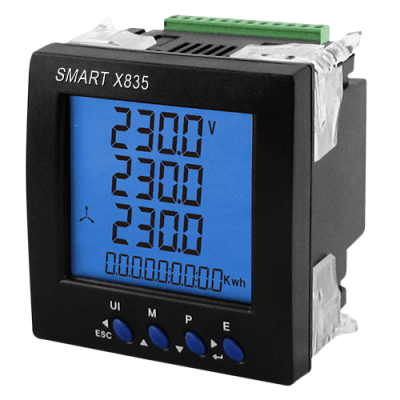 SmartX835 Single/Three Phase, 0.33VAC Milivolt, CT Operated,  96mm Panel Mounted, Multifunction Meter