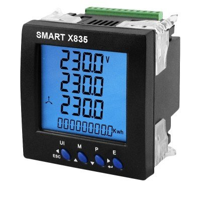 SmartX835MV Single/Three Phase, 0.33VAC Milivolt, CT Operated,  96mm Panel Mounted, Multifunction Meter